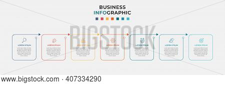 Business Infographic Design Template Vector With Icons And 7 Seven Options Or Steps