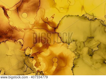 Black And Yellow Abstract Marble Pattern. Gold Fluid Wallpaper. Watercolor Motion Canvas. Creative I