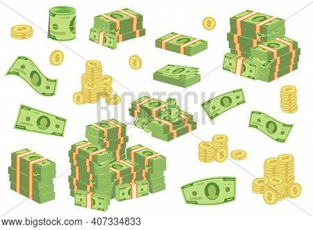 Cartoon Money Bills. Green Dollar Banknotes Cash Vector Icons. Pile Of Dollars And Banknote Heap Abu