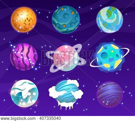 Vector Set Of Cartoon Planets. Colorful Set Of Isolated Objects. Astronomical Observatory Small Plan