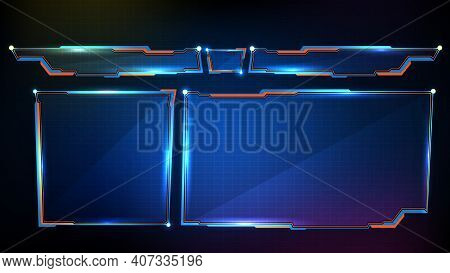 Abstract Futuristic Background Of Blue Glowing Technology Sci Fi Frame, Hud Ui, Lower Third Button B