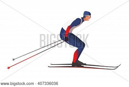 A Skier In Blue And Red Sportswear Is Skiing Using Ski Poles And Skis. Vector Flat Design Illustrati