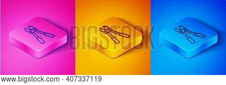 Isometric Line Bolt Cutter Icon Isolated On Pink And Orange, Blue Background. Scissors For Reinforce