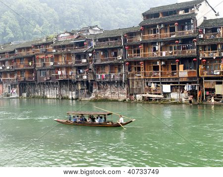 Chinese Houses In Fenghuang, China
