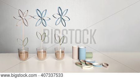 Flowers From Toilet Roll Tube For Mother Day, Zero Waste Crafts For Kids, School And Kindergarten, C