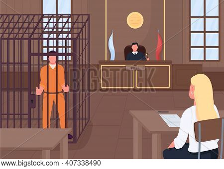 Courthouse Flat Color Vector Illustration. Judge Listening Lawyer Who Protects Criminal. Court Worke