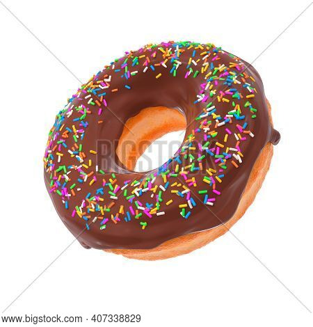 Glazed Donut With Sprinkles On A White Background Rotated In Three Quarters. 3d Rendering And Illust
