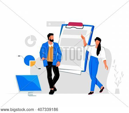 Business People Studying Finance Report, Business Result. Man And Woman At Clipboard, Flat Vector Il