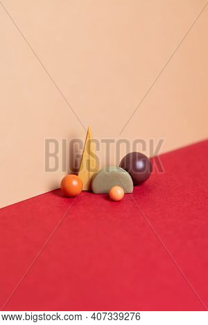 Geometry Set Abstract Composition. Simple Figures On Red And Beige Background. Harmony Concept With