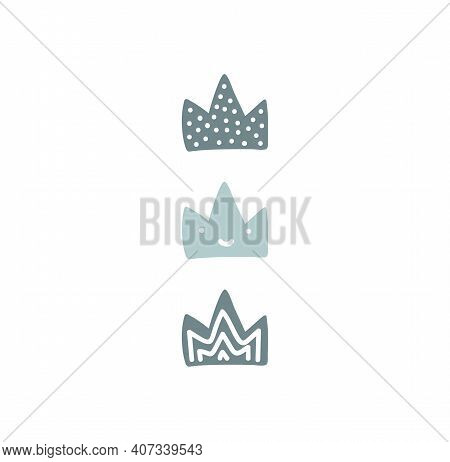 Vector King And Queen Crown, Flat Vector Cartoon Illustration Doodle Drawing, Baby Blue Crowns With