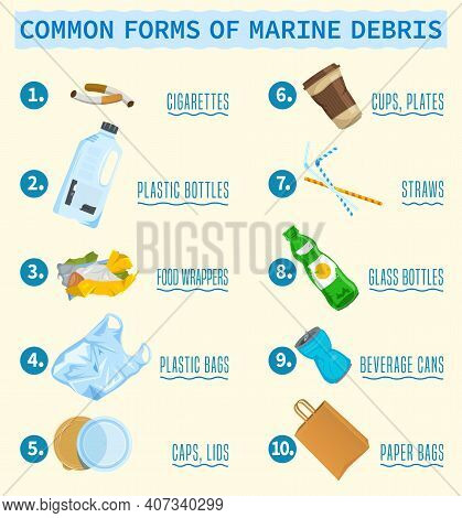 Top Debris Items Found In The Ocean Infographics. Different Waste Polluting The Sea And Beach. Verti