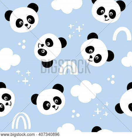 Panda Bear Pattern Design With Panda Heads And Cludy Sky - Funny Hand Drawn Doodle, Seamless Pattern