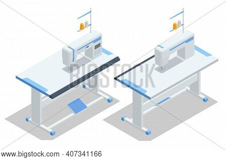 Isometric Sewing Machine On Table In Tailor S Workshop On A White Background. Textile Industry. Sewi