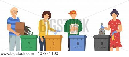 People Sorting Garbage For Recycling. Responsible Men And Women Standing Near Dustbin And Put Trash