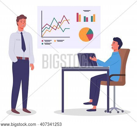 Businesspeople, Office Workers Businessmen Working At Project, Plan, Colleagues Looking At Board And