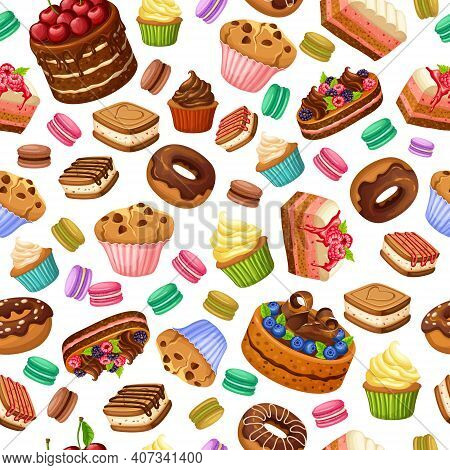 Cartoon Colorful Desserts Seamless Pattern With Sweet Products Cakes Cupcakes Cookies Macaroons Donu