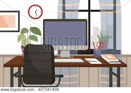 Modern Workplace Flat Design. Lather Chair And Office Desk With A Computer And Potted Plant In Livin
