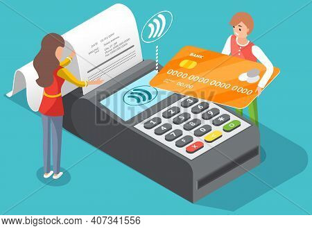 Pos Terminal Confirms The Payment By Debit Credit Card With A Tiny Man Character Holding Payment Pla