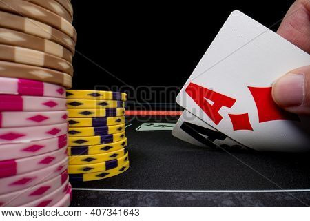 High stakes Texas hold 'em poker game at the casino