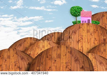 Lonely Pink House On The Top Of The Mountain, Imaginary Landscape.