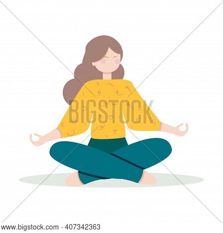 Woman Boosting Immune System With Yoga. Cute Girl Practicing Meditation. Concept Of Healthy Lifestyl