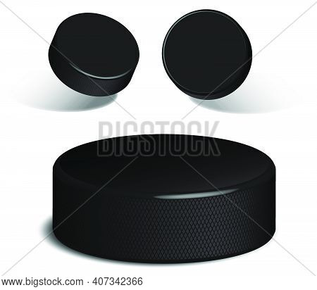 Realistic Rubber Hockey Puck. 3d Image Of Hockey Puck Lying On Ice And In Flight. Vector