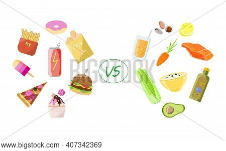 Healthy Vs Unhealthy Food. Concept Of Choice Between Good And Bad Nutrition. Fastfood, Sweet And Fat