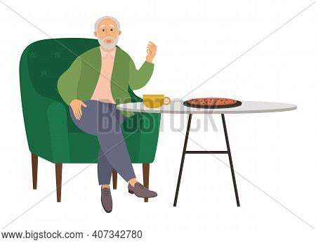 Old Man Eating In The Dining Room Illustration, Sitting At A Table With Pizza And A Cup Of Tea. Gran