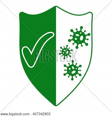 Sign Of Protection From Viruses, Shield With A Green Tick And Bacterial Viruses Coronavirus, Vector