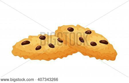 Chocolate Chip Cookies. Sweet Pastries. Fat, High-calorie, Unhealthy Food. Dessert, Yummy Treat, Tre