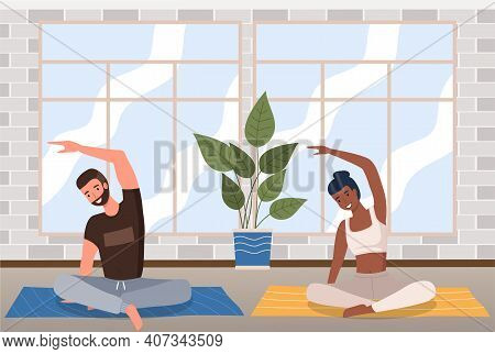 Home Fitness. Young Couple Doing Yoga In Living Room. Sports Exercises And Stretching, Pair Yoga Con