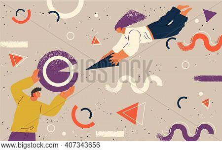 People Flying In Abstract Imaginary Space Organizing Geometric Shapes. Group Of Young Men Collecting