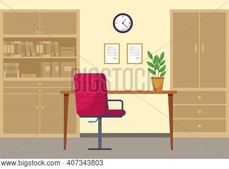 Modern Workplace Flat Design. Office Chair Crimson Colour And Office Desk, Bookcase With Books And D