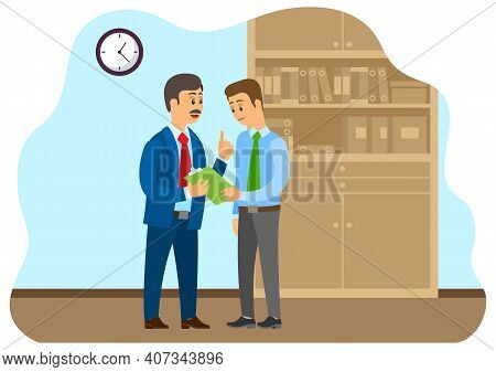 Business Communication. Businessman Transfers Paper To An Employee. Boss Accepts Documents From Subo