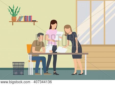 Business People Dressed In Casual Clothes Sitting Table With Laptops And Talking Colleague. Office W