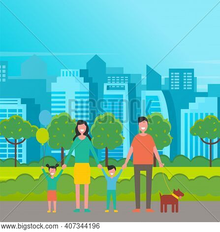 Happy Family In The Park. Father, Mother, Son And Daughter Together In Nature. Vector Illustration I