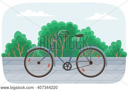 Classic Man Bicycle Vector Illustration On Cityscape Background. Women S Bike Green Transport In Sum