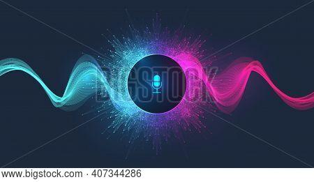 Voice Assistant Concept. Vector Sound Wave. Voice And Sound Recognition Equalizer Wave Flow Backgrou