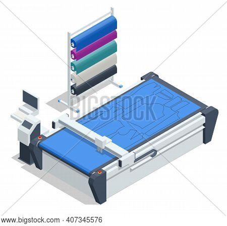 Isometric Cutting Machine. Textile Industry. Automatic Electric Cutting Rail Mounted Cloth End Cutte