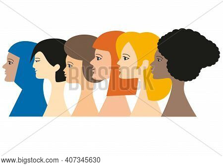 Portraits Of A Group Of 6 Women Representing The Continents Of The World. Multi-ethnic Diversity Con