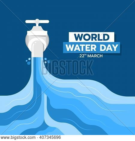 World Water Day Banner With Abstract Water Fall From The Tap On Blue Background Vector Design
