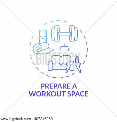 Preparing Workout Space Concept Icon. Home Physical Training Idea Thin Line Illustration. Home Gym O