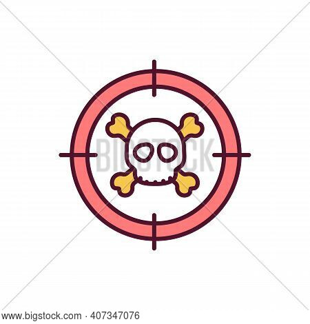 Hunting Endangered Species Rgb Color Icon. Aiming For Shoot. Biodiversity Loss Danger. Poaching And