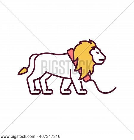 Circus Lion Rgb Color Icon. Harm And Cruelty To Wild Animal. Zoo Arena. Nature Protection. Animal Ab