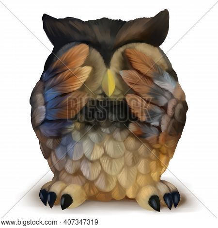An Owl Drawn By Hand Graphics In A Graphics Editor. Cute Illustration Of An Owl With Closed Eyes. Cu