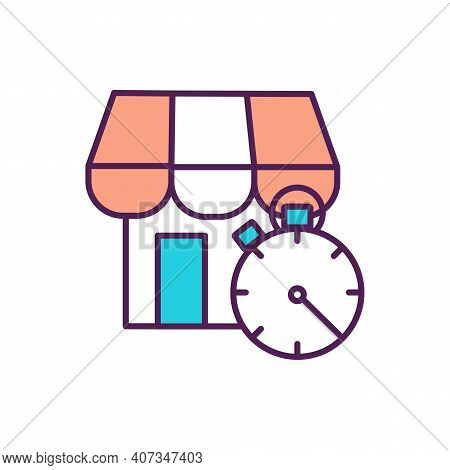 Shopping Time Rgb Color Icon. Waiting In Queue. Timer To Measure. Grocery Shop. Supermarket Store. C