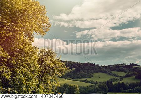 Green Hilly Landscape And Blue Sky.high Quality Photo.