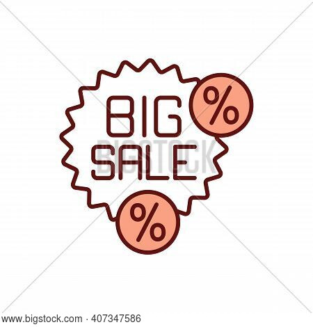 Big Sale Rgb Color Icon. Marketing Strategy. Consumerism And Retail. Percent Off Purchase. Online Sh