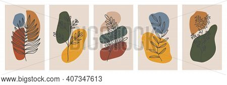 Botanical Wall Art Vector Set. Foliage Line Art Drawing With Abstract Shape. Abstract Plant Art Desi