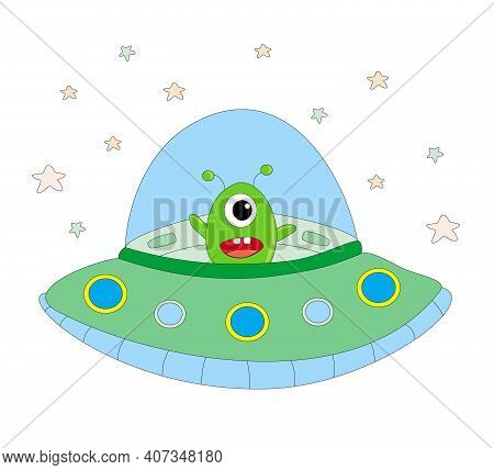 Funny Alien In A Spaceship Ufo Isolated Illustration
